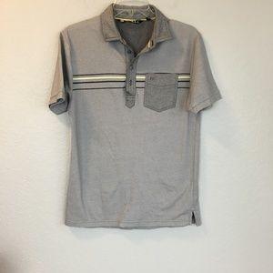 Travis Mathew gray stripe front pocket polo- S